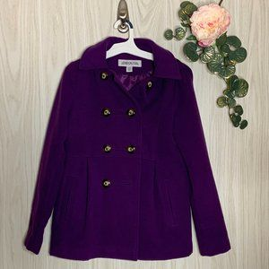 London Fog Pea Coat Girls L 14 16 Purple w Hood